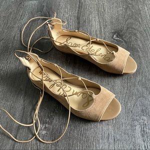 (NWT) Sam Edelman Peep Toe Suede Lace up Flats (7)